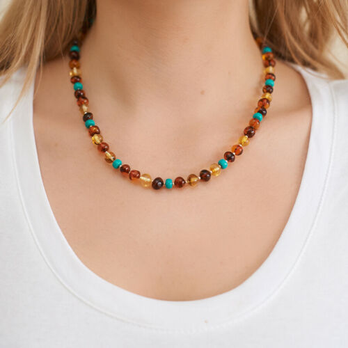 Beaded Necklace Natural Amber Turquoise Necklace Simple Boho Necklace Beads Gift