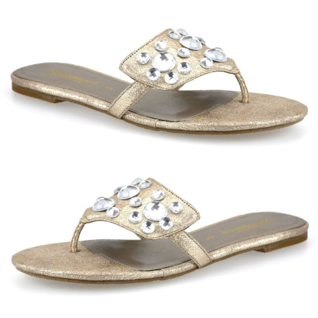 Ladies Womens Low Flat Heel Toe Post Summer Beach Party Sandals Mules Shoes Size