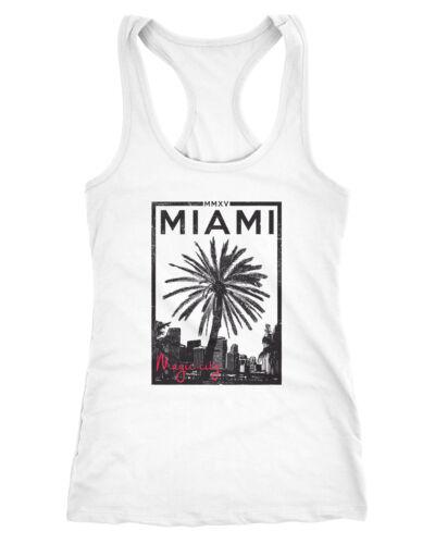 Femmes Débardeur Tank Top Miami Beach Sunset Palmiers Racerback Porteur Shirt