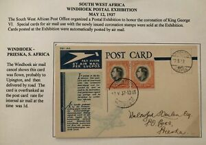 1937-Windhoek-South-West-Africa-King-George-6-Coronation-Exhibition-PC-Cover