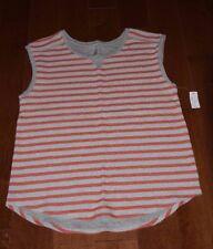 NEW Gap Body 2PC Womens Stripe Terry Cloth PJs Muscle Shirt Shorts Orange S $59