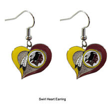 NFL Football Swirl Heart Earrings Pick Your Team Washington Redskins
