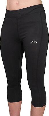 Brillant More Mile Excel Womens 3/4 Capri Running Tights - Black