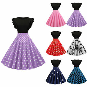 Womens-Prom-Evening-Party-Skater-Dress-Ball-Gown-Ruffle-Sleeve-Swing-Midi-Dress