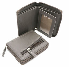 Bifold Gray Genuine Leather Zip-Around Compact Wallet with Outer Zipper Pocket