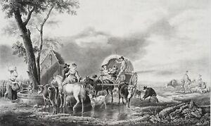 DEMARNE-GEBARD-Reisende-Bauern-mit-Fuhrwerken-19-Jh-Litho