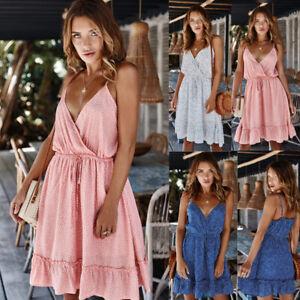 New-Summer-Women-Ladies-V-Neck-Polka-Dot-Mini-Dress-Party-Hoilday-Beach-Sundress