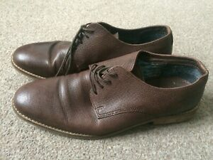 Leather Brown Lace Up Brogue Shoes Size