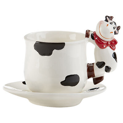 Ceramic Moo Cow Spotted Tea Cup and Saucer Set