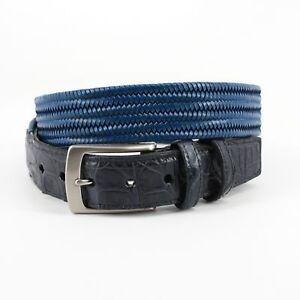 Torino Men/'s Italian Woven Stretch Leather w// Caiman Tabs Belt Blue 50942