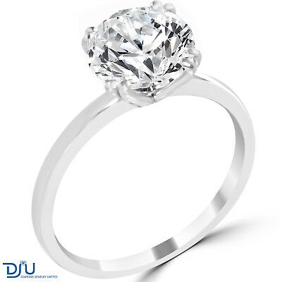 3.35 Ct Round Cut SI1/E Diamond Engagement Ring 14K White Gold