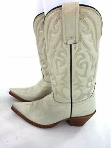 Rudel Bone White Leather Cowboy Boots Size 6 Womens 5 Mens