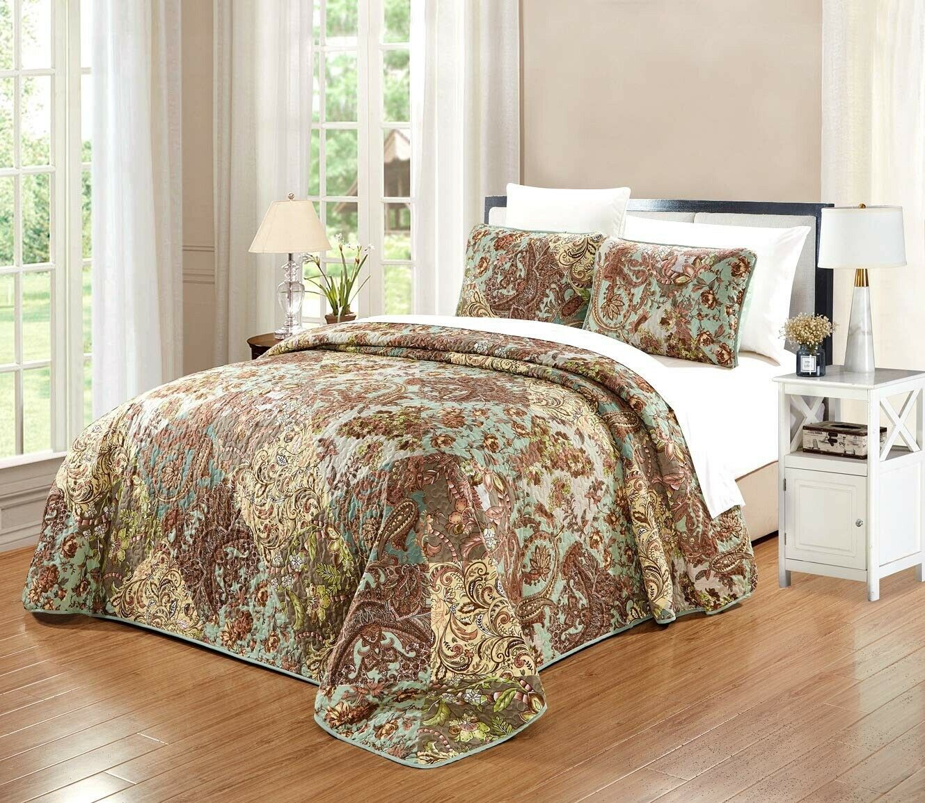 Multi Coloree Sage verde Paisley Floral Reversible Bedspread QUEEN Dimensione Coverlet