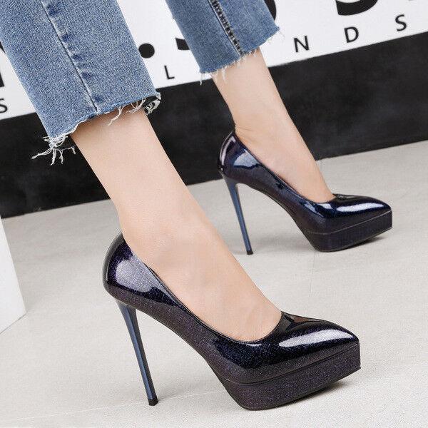 decolte eleganti donna stiletto 12 cm blu comodi  comodi blu simil pelle 1456 93b0d0