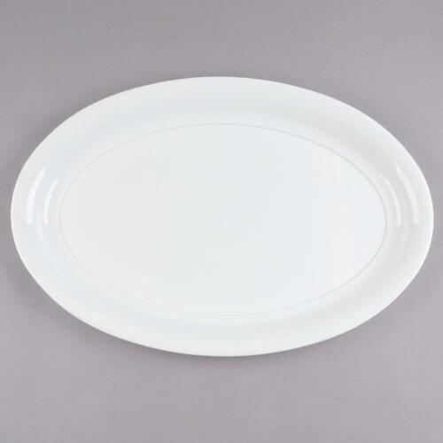 Pack of 2 Heavy Duty White /& Grey Plastic Oval Serving Trays or Serve Platters