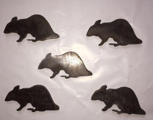 """5 pc Set Rat Silhouette Acier Cible 8/"""" x 5/"""" Rimfire .22 9 mm"""