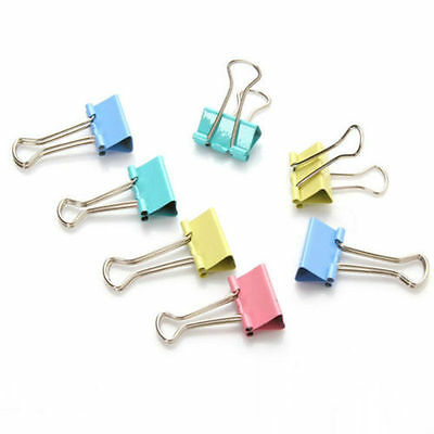 6Pcs Colorful Metal Binder Clips Home Office Supply Folder Dovetail Clamps 15mm