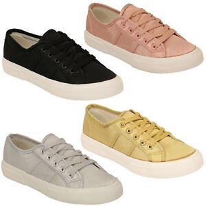 Zapatillas-para-mujer-senoras-de-Saten-Plana-Con-Cordones-Zapatos-Lona-Bombas-Zapatillas-de-tenis-de