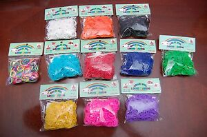 600 pcs LOOM RUBBER BANDS REFILL + HOOK + S-CLIPS IN RAINBOW COLORS-USA SELLER!!
