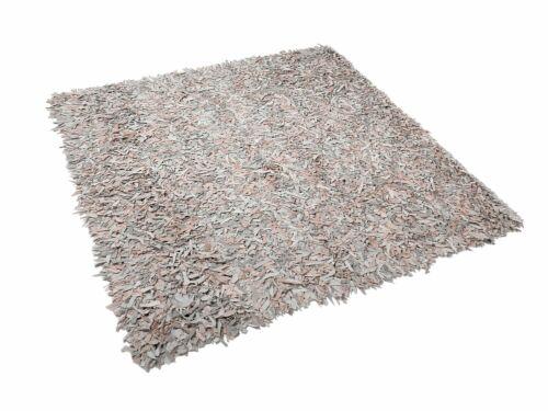 Teppich hellbeige 200 x 200 cm Leder MUT