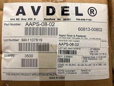 """.126 - .250 250 Aluminum CLOSED END POP Rivets *6-4 Grip* 3//16/"""" x .531"""