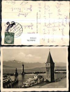 157214-Lindau-i-Bodensee-Hafen-Alter-Leuchtturm-Schiff-Dampfer-1938