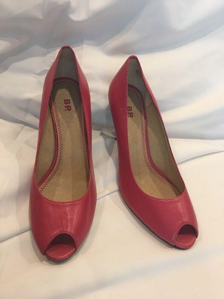 Nordstroms BP Womens 8 Pumps Heels shoes Leather Peep Toe Peekaboo Lea Stilettos