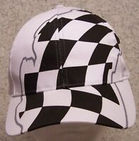 Embroidered Baseball Cap Auto Racing Checkered Flag 1 Hat Size Fit All White