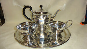 Image is loading Attractive-Vintage-3-Piece-Silver-Plated-Tea-Set- & Attractive Vintage 3 Piece Silver Plated Tea Set On Round Tray | eBay