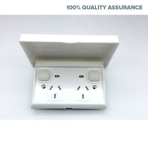 Weather-Proof-Waterproof-Slim-Upmarket-GPO-Power-Point-Outlet-LID-Outside-NEW