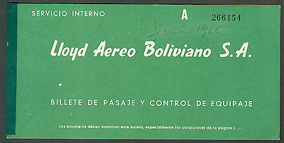 Airlines Loyd Aereo Boliviano S.a.old Passenger Ticket 1960 Clear-Cut Texture