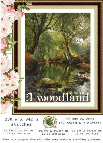 Chart Counted Cross Stitch Pattern Needlework A woodland stream