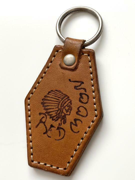 RED MOON genuine leather key chain leather brown length 6 x width 4 men's
