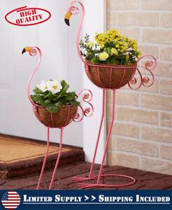 Flamingo-Yard-Decorations-Metal-Pot-Planter-Outdoor-Garden-Lawn-Ornament-Statue