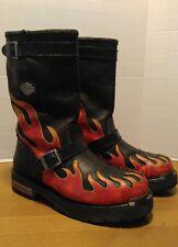 Harley Davidson FLAME Biker Boots Mens 10.5 Black Leather Fireside Harness