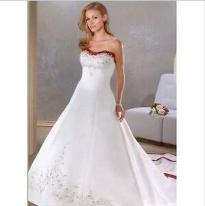 008c3910be Strapless Crystals Chapel-Train A Line Wedding Dress White And Red ...