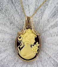 Vintage Style Cameo Pendant in 14KT. Rolled Gold Handcrafted Setting with Chain