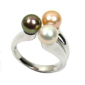 Genuine-AAA-6-7mm-Multi-Color-Pearl-4-60g-925-Sterling-Silver-Ring