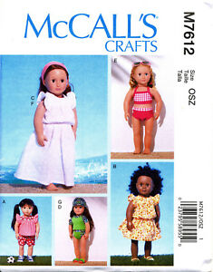 MCCALL-039-S-SEWING-PATTERN-7612-18-034-DOLL-CLOTHES-DRESSES-TOP-SHORTS-SWIMSUITS