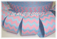 1.5 EASTER BABY BLUE PINK CHEVRON ZIG ZAG STRIPE GROSGRAIN RIBBON 4 HAIRBOW BOW