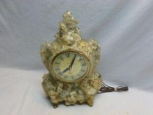 Vtg Retro Mod Lanshire Lucite Resin Rock Kitsch Electric Shelf Mantel Clock