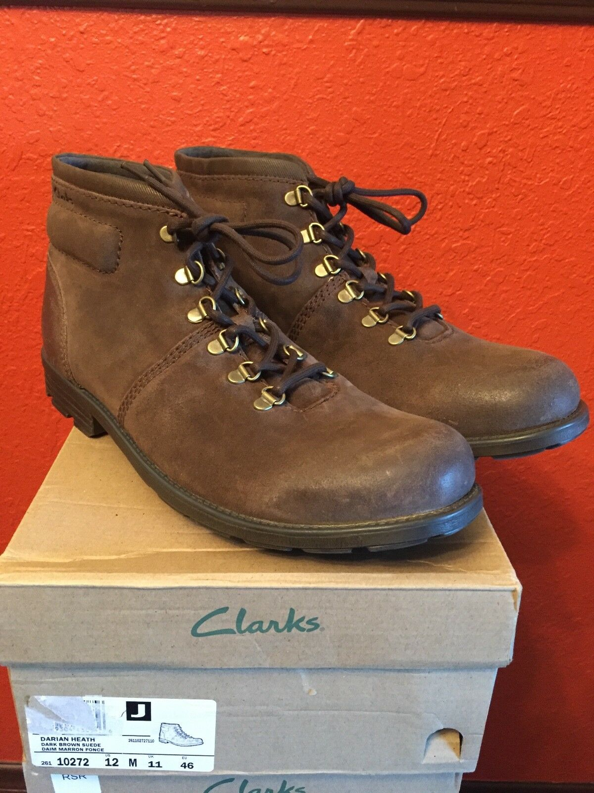 Clarks Mens Size 12M Dark Brown Suede Boot Shoe with Ortholite Sole