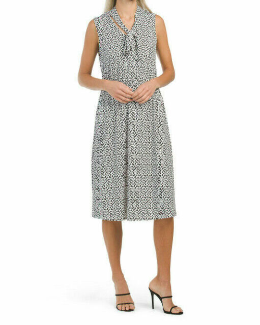KENSIE NEW Black Animal Print Long Sleeve Above Knee Polyester Dress XS 0 2