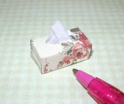 DOLLHOUSE 1:12 Miniature Rectangular Decorative Tissue Box #5 Peach Floral