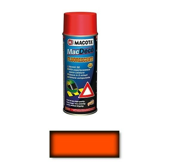 Macota Tuning Vernice Spray Fluorescente e Trasparente Smalto Rosso Arancio
