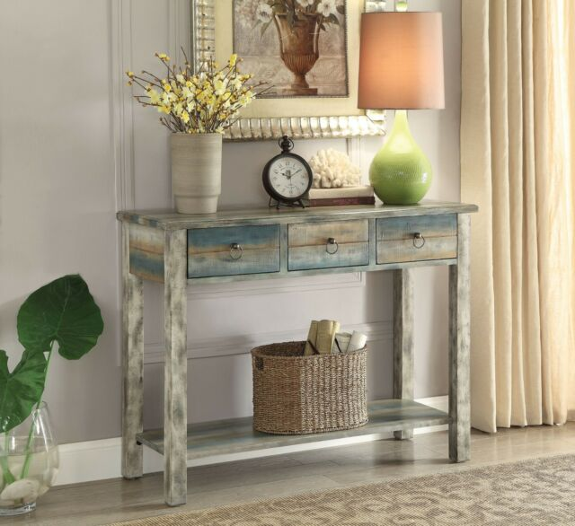 Miraculous Console Table Vintage 3 Drawer Distressed Antique White Teal Wood Finish Rustic Dailytribune Chair Design For Home Dailytribuneorg