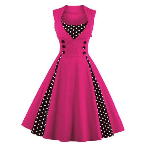 Damen Rockabilly 50er Swing Kleid Petticoat Vintage Hepburn Party Cocktailkleid