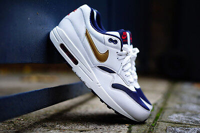 Histérico Crudo Recreación  Nike Air Max 1 QS Olympic White Gold Navy Leather 90 97 Usa Trainers  Sneakers | eBay