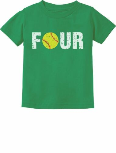4th Birthday Gift for Four Year old Softball Toddler Kids T-Shirt 4 year old