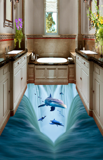 3D Bird Sea Dolphin 4 Floor WallPaper Murals Wall Print 5D AJ WALLPAPER UK Lemon